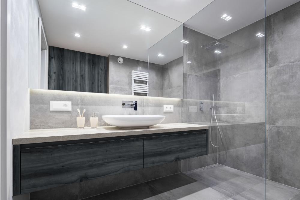 Bathroom with shower and mirror